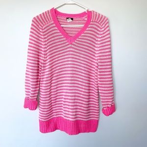J. Crew Striped V Neck Sweater Medium